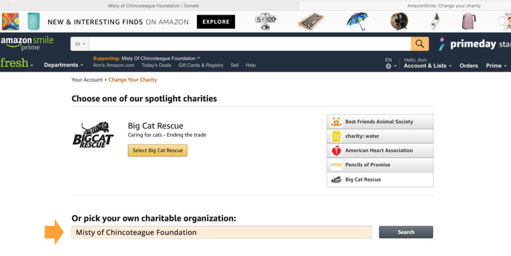 AmazonSmile for MIsty of Chincoteague Foundation