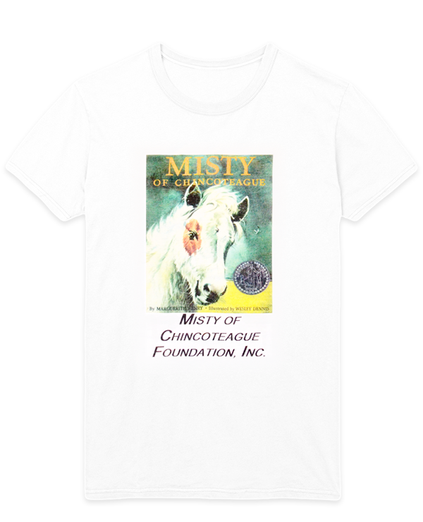 White t-shirt with Misty of Chincoteague book cover